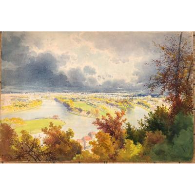 Paul Langlois (1858-1906) Paris La Seine  Vue De Meudon Aquarelle 1900  Belle Époque