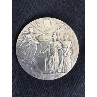 Médaille en bronze argenté Pont Alexandre III Paris Russie 1896 Daniel Dupuis / numismatique
