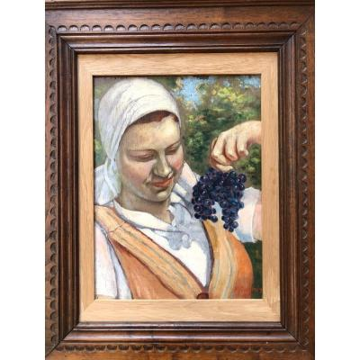 Pierre Guérin Harvest Oil 1937 The Young Woman With The Bunch Of Grapes