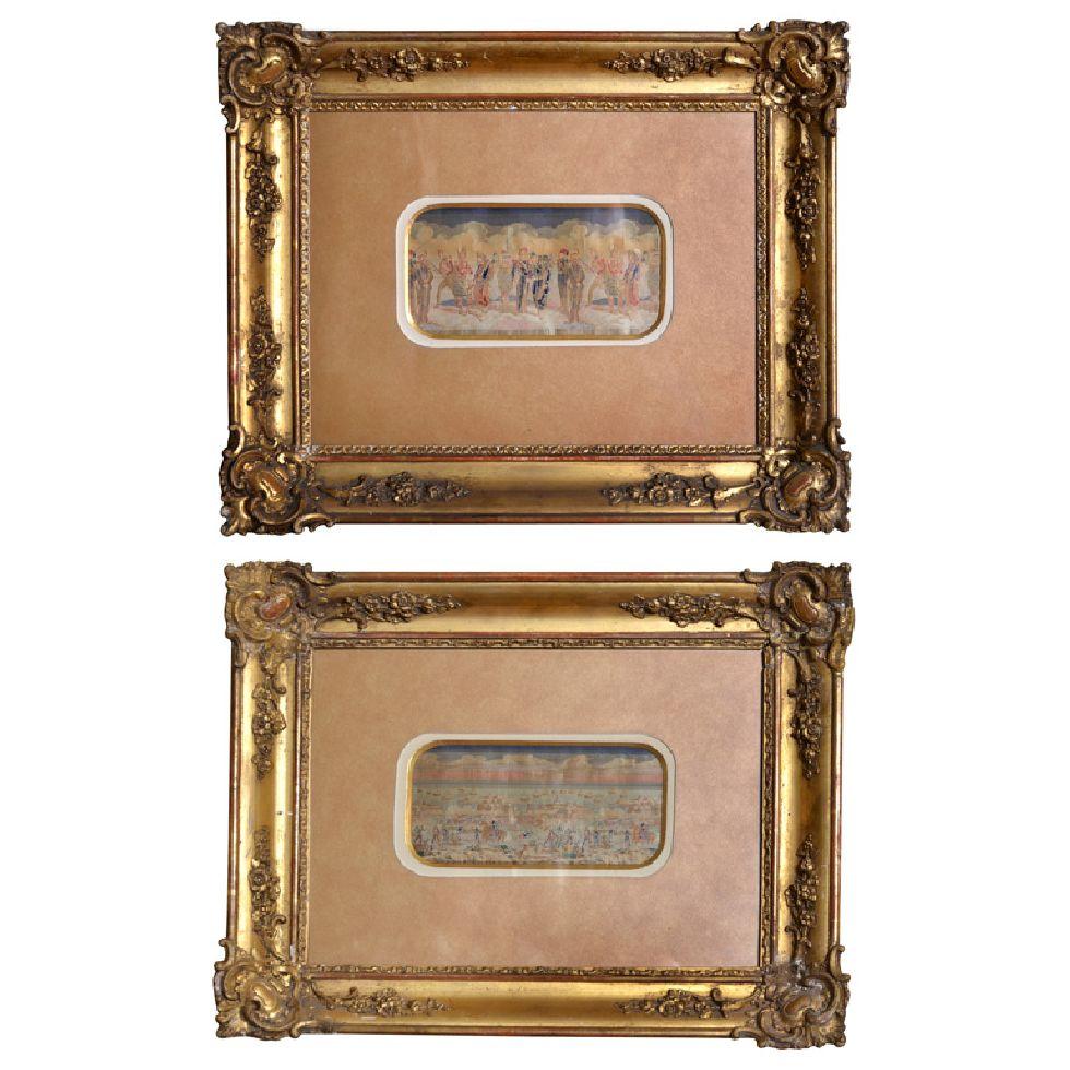 Deux tableaux en soie représentant le siège de Sébastopol