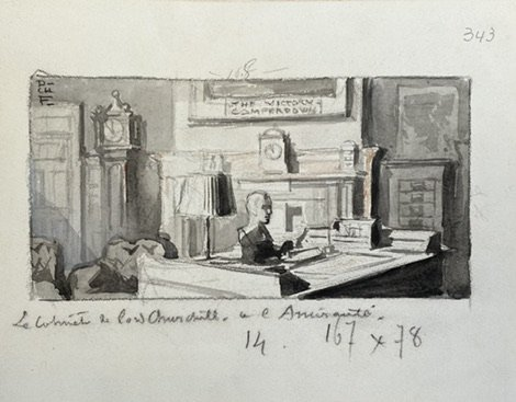 Charles Fouqueray (1869-1956 ) crayon et lavis Lord Churchill