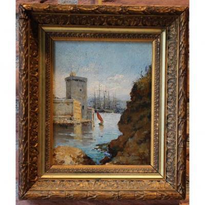 Tableau de marine, XIXe, huile sur panneau de bois