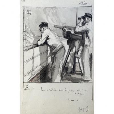 Charles Fouqueray (1869-1956 ) crayon et lavis canon de 47 de marine modèle 1885
