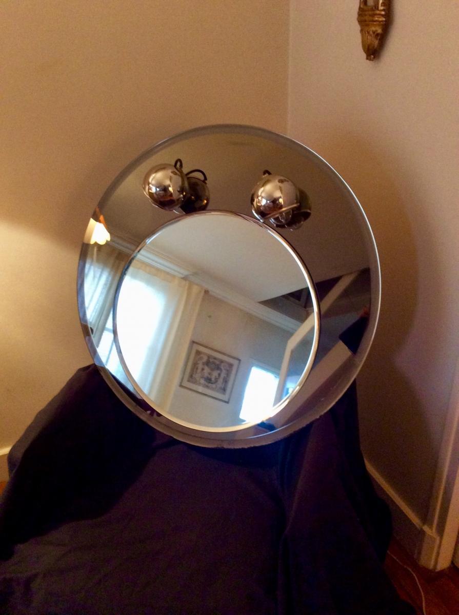 1970s Round Mirror-photo-1