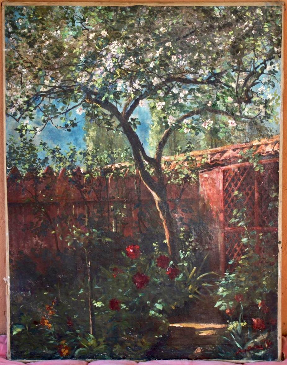 """Huile Sur Toile """" Le Jardin """" Signée Jean Besson"""