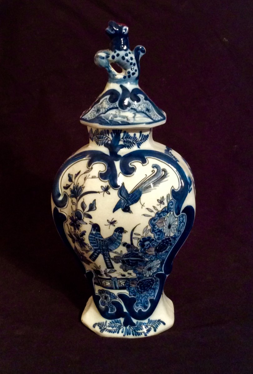 Delft Earthenware Covered Vase From Early XIXth
