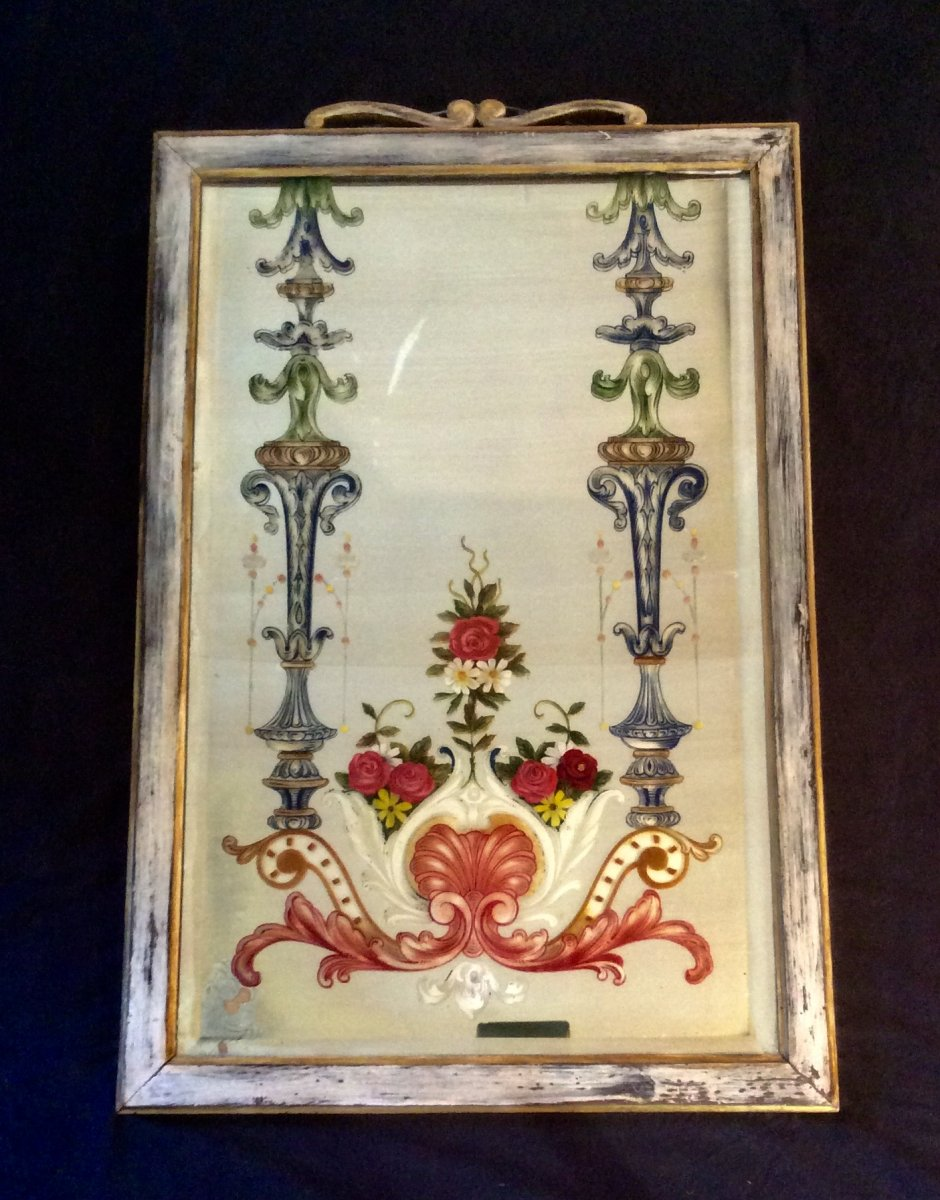 Beveled Mirror Adorned With A Floral Painting From The Gorgio And Irene Silvagni Collection