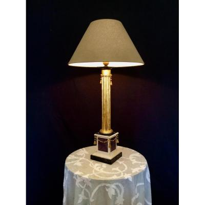 Golden Wood Lamp In Column