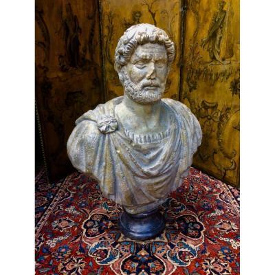Sculpture Buste Empereur Romain Marc Aurèle En Plâtre Patiné