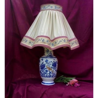 Lampe En Porcelaine blanche Peinte Dans Le Style Chinoiseries Du Milieux XX Eme