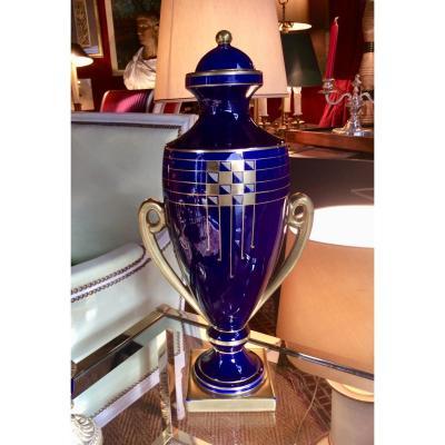 Vase Couvert Bleu Cobalt Pinon-Heuzé Circa 1930