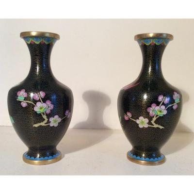 Pair Of Chinese Cloisonne Copper Vase Middle XX Eme