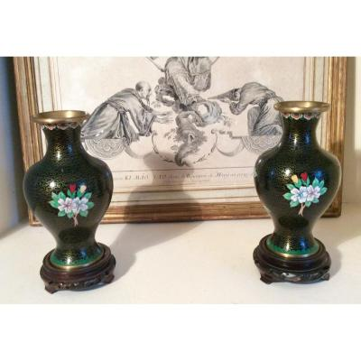 Pair Of Copper Chinese Vases Cloisonné Middle XX Eme
