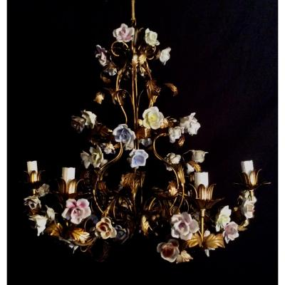 Vintage Floral Cage Chandelier From The 1970s