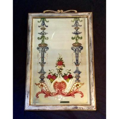 Miroir Biseauté Orné D'une Peinture Florale De La Collection Gorgio Et Irène Silvagni