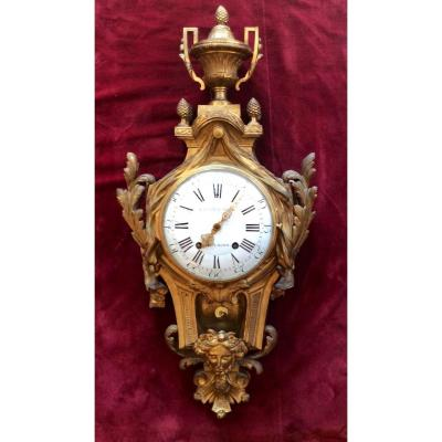Cartel Applique Early Louis XVI Period In Gilt Bronze And Chiselled Signed Causard.