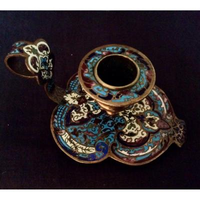 Cloisonne Bronze Hand Candle Holder. XIX Eme