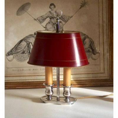 Lampe Bouillotte Deux Feux En Métal Argenté. Début XX ème