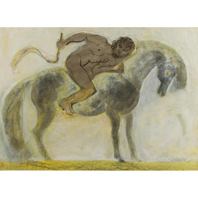 Mythological Horsemen In The Style Of Cocteau Circa 1950