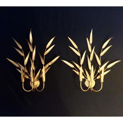 Pair Of Gilded Sheet Metal Sconces With Bamboo Leaf Decorations Circa 1970