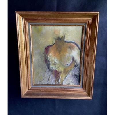 Oil On Canvas Bust Of Woman In The Antique XX Eme