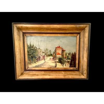 """Huile sur carton """"Le pré st Gervais"""" signé M.PARIS 1920"""