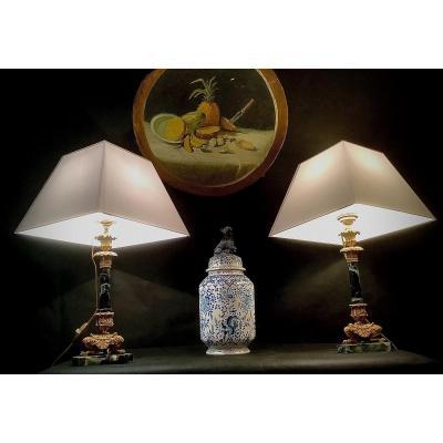 Paire De Flambeaux Montés En Lampe d'époque Restauration