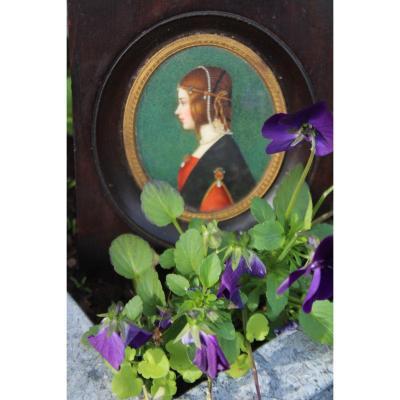 """Miniature dans le gout de """"La belle Ferronière"""" de Leonard de Vinci."""