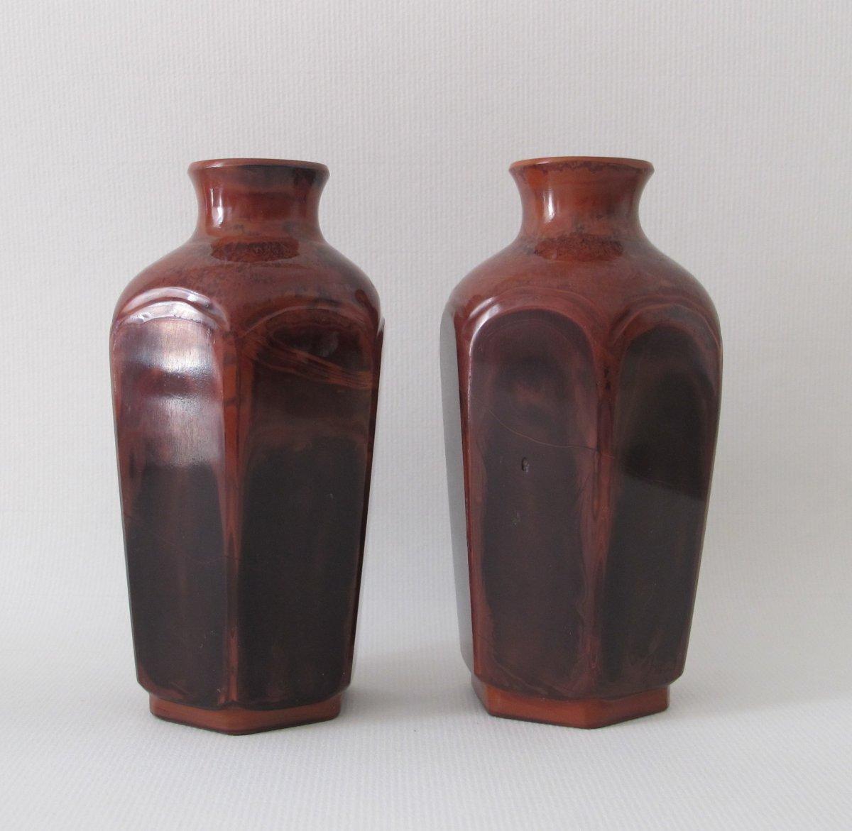 Paire De Vases En Verre De Pékin