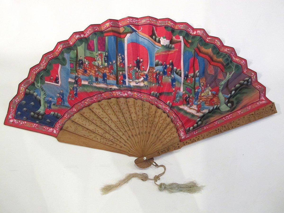 Cantonese Asymmetrical Hand Fan, Sandalwood, China, 19th Century