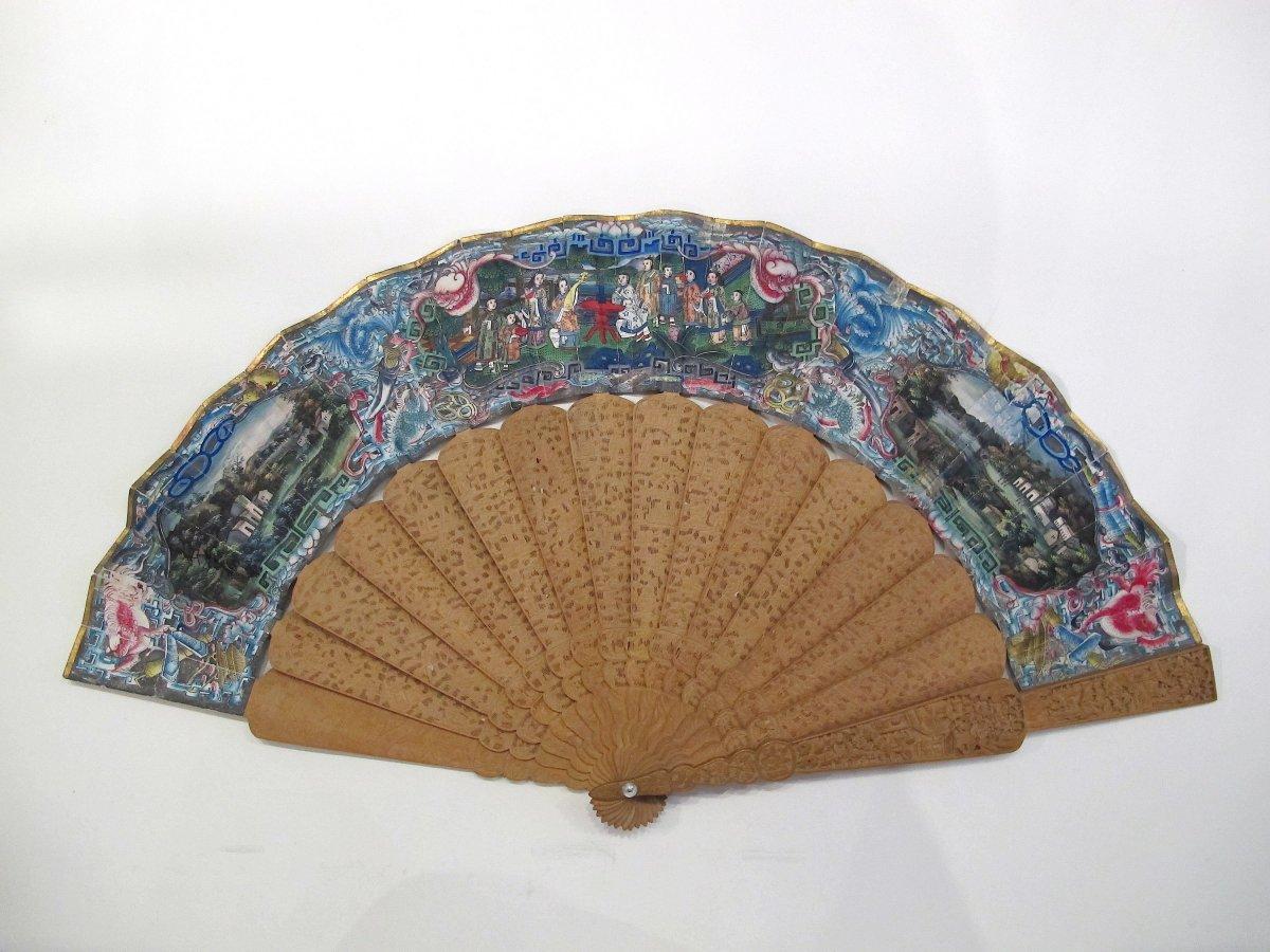 Sandalwood Hand Fan With Chinese Mythological Animals, Canton, 19th C.