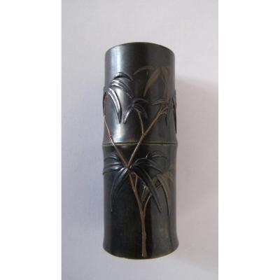 Petit vase en bronze en forme de bambou