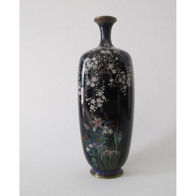 Cloisonné Enamel Vase On Copper With Floral Decoration