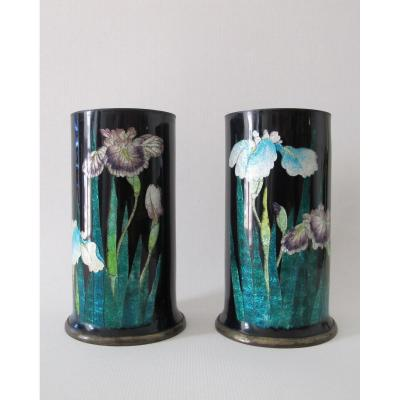 Pair Of Cylindrical Vases In Copper And Cloisonné Enamels With Iris Decor.