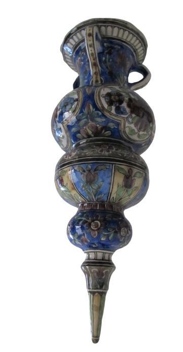 Vase en forme de lampe de mosquée en céramique Qajar-photo-3