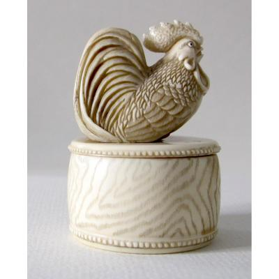 Ivory Okimono Netsuke Of A Rooster On A Taiko (war Drum)