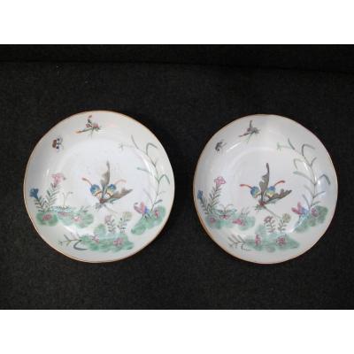 Paire d'Assiettes Chinoises à Décor De Papillons, Marque Guangxu