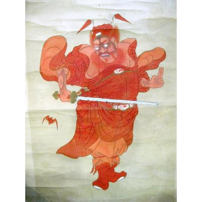 Chinese Painting On Paper Mounted In Kakemono. Red Zhong Kui