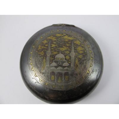 Steel Snuff Box Inlaid With Gold And Silver Thread