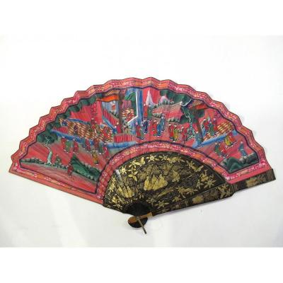 Large Cantonese Asymmetrical Hand Fan, Lacquer Wood, China, 19th Century