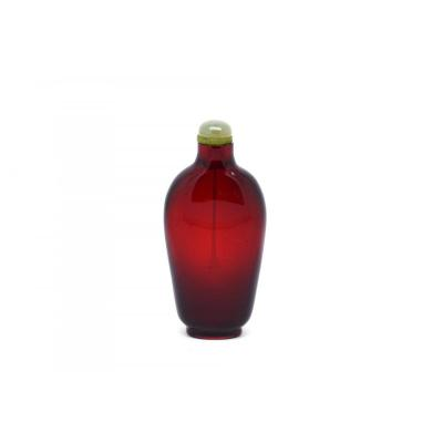 Chinese Deep Ruby Red Color Glass Snuff Bottle, 18th China