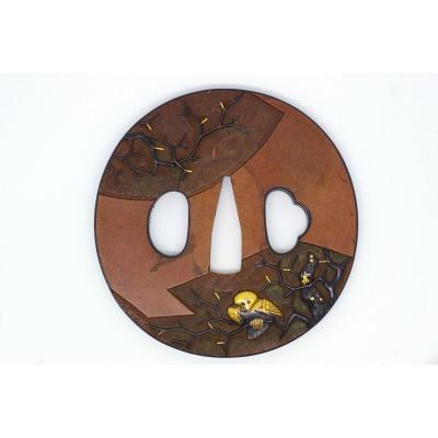 Tsuba In Copper, Bronze And Gold Decorated With Birds, Japan, Late Edo