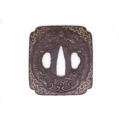 Iron Tsuba, Namban Style Decorated With Confronted Dragons, Japan, Edo