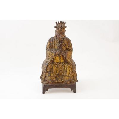 17th Century Chinese Gold Lacquered Bronze Taoist Dignitary Sculpture