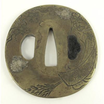 Tsuba Nagamaru Gata - The Poet Jittoku And His Broom