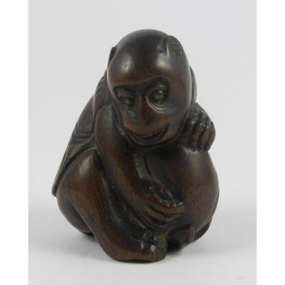 Wooden Netsuke - Monkey And Peach