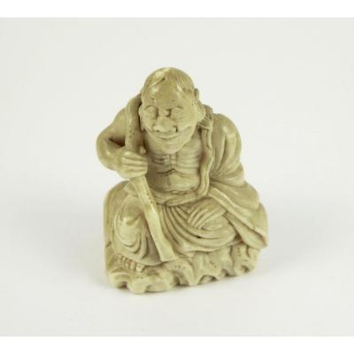 Netsuke In Ivory - Sennin On A Rock