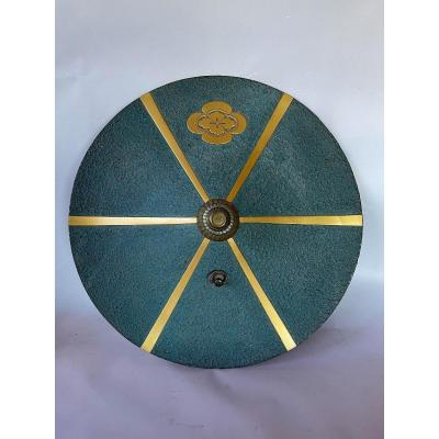 Jingasa, Samurai Headdress In Blue Green And Gold Lacquered Kanshitsu
