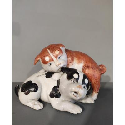 Small Group Of Two Porcelain Puppies From Kutani