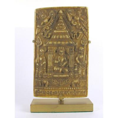 Plaque Votive En Os - Tibet, 18ème siècle